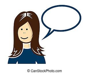 kvinna, talande