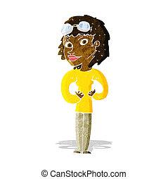 kvinna, tecknad film, flygare