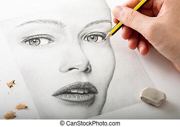 kvinna, teckning, hand, ansikte
