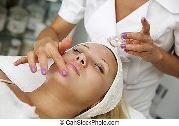 kvinna, terapi, mottagande, rening