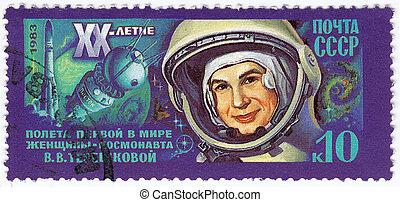 kvinna, tereshkova, 1983, stämpel, tryck, valentina, ussr...