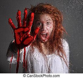 kvinna, themed, bleking, fasa, skrämd, avbild