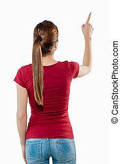kvinna tillbaka, pekande, synhåll
