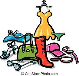 kvinna, tillbehör, kläder