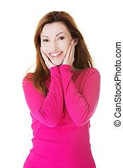 kvinna, tillfällig, stående, le., attraktiv