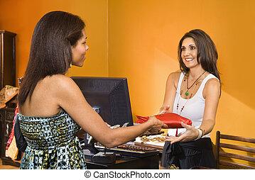 kvinna, tillverkning, purchase.