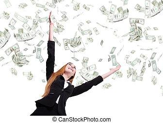kvinna, titta, affär, pengar, uppe, regna, under