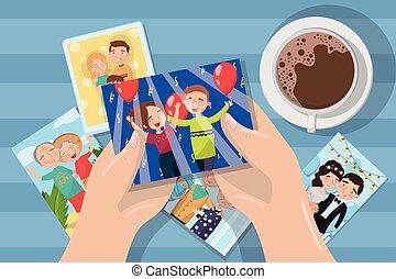 kvinna tittande, foto, över, a, kaffe kopp, räcker, med, familj, bilder, vektor, illustration, element, för, design, och, nät