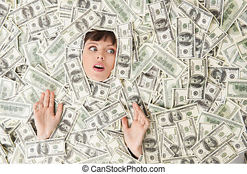 kvinna, topp, ung, us-valuta, papper, rik, höjande, woman., snopen, synhåll