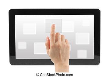 kvinna, toucha, bakgrund, gräns flat, avskärma, hand, vit