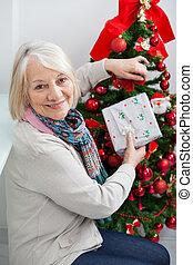 kvinna, träd, holdingen, senior, julklapp