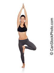 kvinna, träningen, yoga