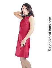 kvinna, tröttsam, röd klä