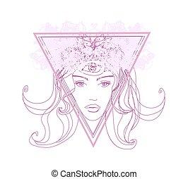 kvinna, tredje, psykiskt, sans, övernaturligt, ögon