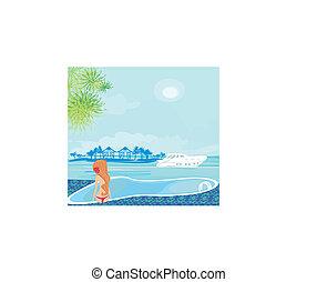 kvinna, tropisk, tillflykt, lyxvara, slå samman, simning