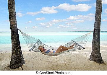 kvinna, tropisk, under, resa, semester, ö, koppla av