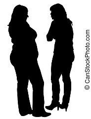 kvinna, tunn, fett