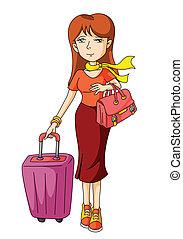 kvinna, turist
