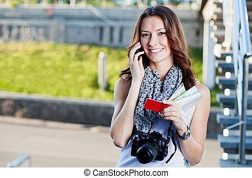 kvinna, turist, ung, påringning, tillverkning