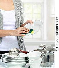 kvinna, tvättning diskning, kök
