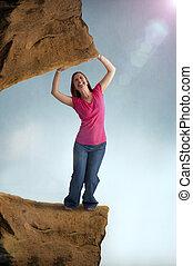 kvinna, tvungen, och, snärjet, av, a, tung, vikt