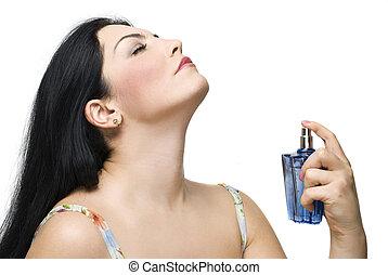 kvinna, tycka om, den, vällukt, av, henne, parfym
