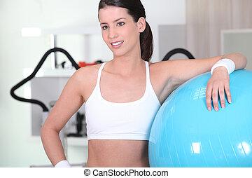 kvinna, under, lämplighet träna