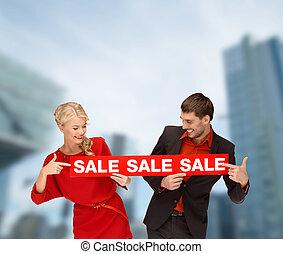 kvinna, underteckna, försäljning, man, le, röd
