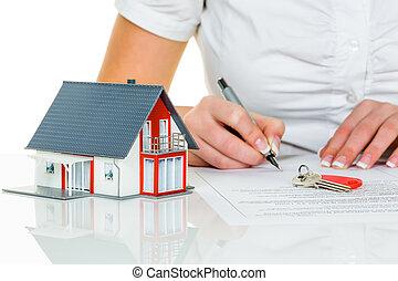 kvinna, undertecknar, överenskommelse, för, hus