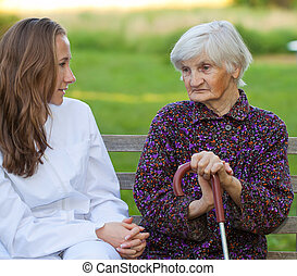 kvinna, ung, äldre, läkare