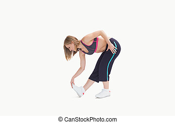 kvinna, ung, övning, sträckande