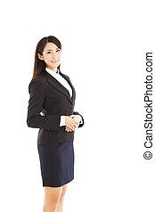 kvinna, ung, affär, asiat