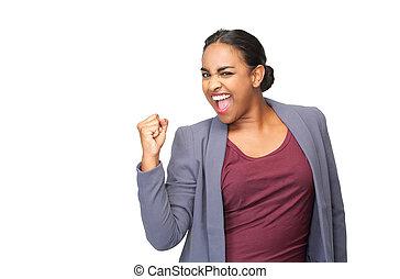 kvinna, ung, fira, pump, näve, stående, lycklig