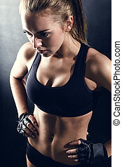 kvinna, ung, fitness