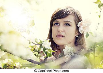 kvinna, ung, fruktträdgård