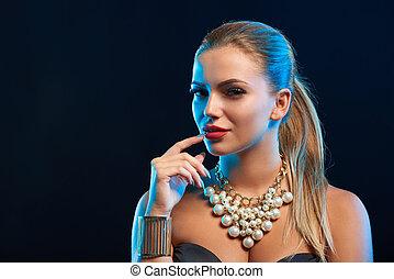 kvinna, ung, glamour, mode, närbild, stående