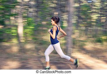 kvinna, ung, höst, spring, skog, lantlig väg