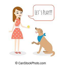 kvinna, ung, illustration, hund, vektor, leka