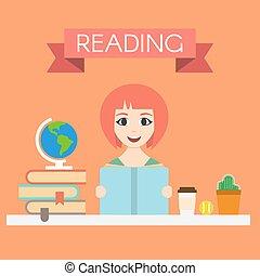 kvinna, ung, illustration, vektor, läsning beställ, stilig