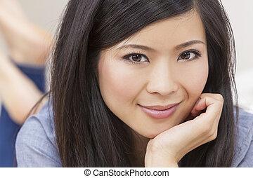 kvinna, ung, kinesisk, asiat, vacker
