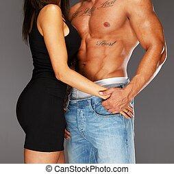 kvinna, ung, muskulös, naken, omfamna, torso, man