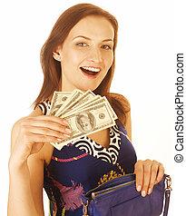 kvinna, ung, pengar, kontanter, isolerat, nätt