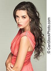 kvinna, ung, sida, attraktiv, röd klä