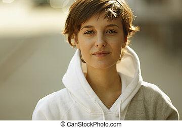 kvinna, ung