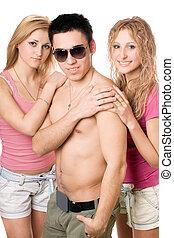 kvinna, ung, två, attraktiv, blondin, man