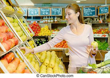 kvinna, ung, uppköp, äpplen
