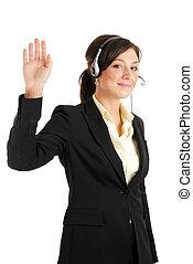kvinna, uppe, hand, telekommunikation