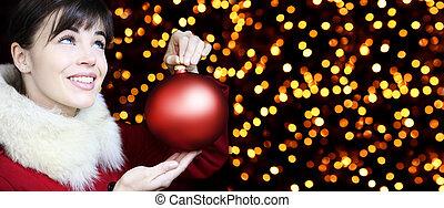 kvinna, uppe, lyse, ser, bakgrund, le, boll, jul, röd