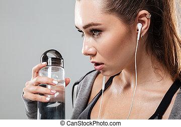 kvinna, uppe, sports, vatten, nära, sida se