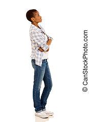 kvinna, uppe, ungt se, amerikan, afrikansk